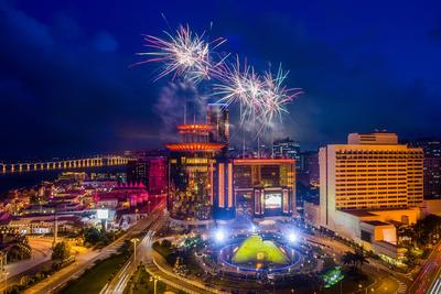 Fireworks light up the sky above Sands Macao Friday in celebration of the resort's 10th anniversary.