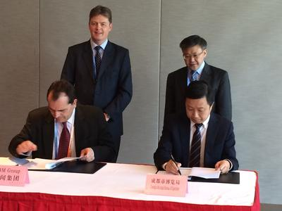 Mr. Jime Essink, CEO of UBM Asia signed the MOU with Mr. Mu Tao, Director of Chengdu Exposition Bureau