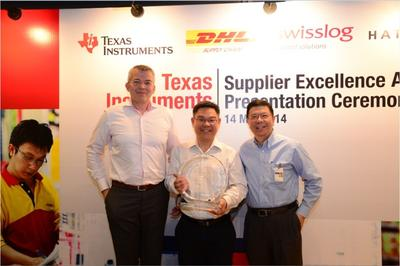 From left to right: Pieter Marseille, Global Product Distribution Manager, Texas Instruments; Koh Seng Teck, Head of WDS Southeast Asia, Swisslog, Larry Tan, President, Texas Instruments Asia