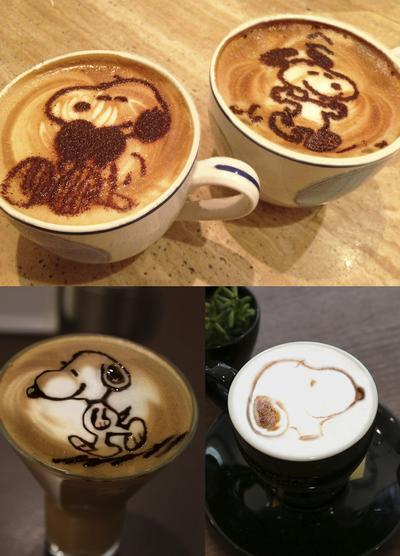 Harbour City Snoopy themed coffee art charity sale