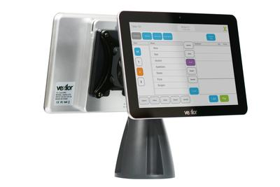 Vexilor V10 Gen 2 shown here with stand mount and optional customer facing tablet.