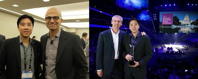 A WINNING PARTNERSHIP: LEFT: Ivan Teh, Fusionex Managing Director, with Satya Nadella, CEO of Microsoft during the private Microsoft Awards Reception, where the world's top Microsoft partners were invited to an exclusive, invitation-only event in Washington DC, United States; RIGHT: Ivan Teh with Phil Sorgen, Corporate Vice President, Microsoft Worldwide Partner Group, at the prestigious award ceremony during the 2014 Microsoft Worldwide Partner Conference held in Washington DC, United States