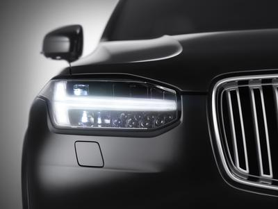 XC90 Front view: Volvo XC90 Front view - Front view of the all-new XC90, including the distinctive new T-shaped running lights.