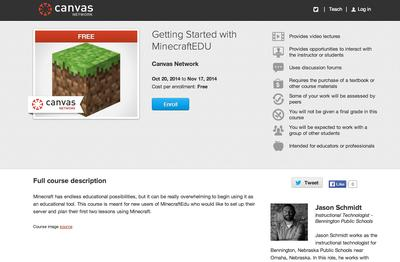 Free Course for Teachers on How to Get Started with MinecraftEDU from Canvas Network by Instructure.