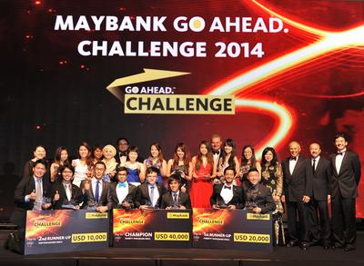 The top-placed teams pose with their cheques at the gala dinner and awards presentation in Kuala Lumpur, marking the end of the week-long International Grand Final of the Maybank GO. Ahead Challenge 2014