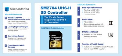 SM2704 is the world's fastest single-channel UHS-II SD card controller