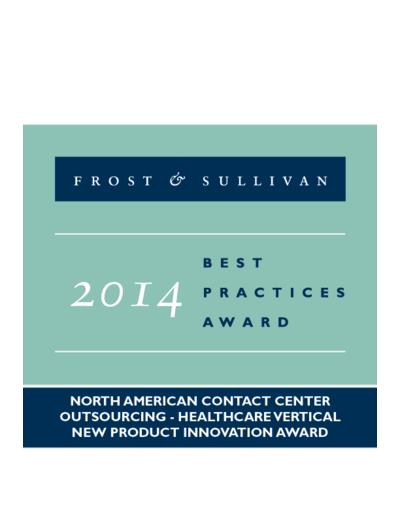 2014 North American Contact Center Outsourcing - Healthcare Vertical New Product Innovation Award
