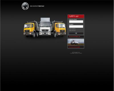 Log-in screen for the BharatBenz Financial Customer Online System