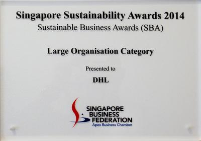 DHL wins the Large Enterprise category at the Sustainable Business Awards in Singapore