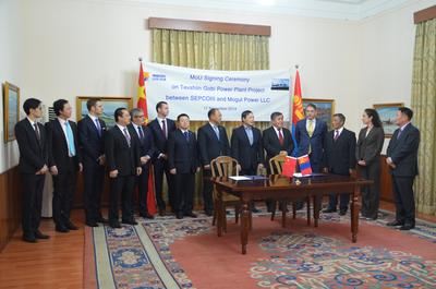 The Mogul Power LLC, Firerbird and SepcoIII teams join the Ambassador of Mongolia, Mr. Sukhbaatar Ts., and the Senior Counsellor of Commercial and Economic affairs, Mr. Khurrenbaatar B at the signing of the MOU at the Embassy of Mongolia in Beijing.
