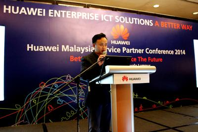 CEO of Huawei Malaysia, Abraham Liu welcomes service partners to Huawei Malaysia Service Partner Conference 2014