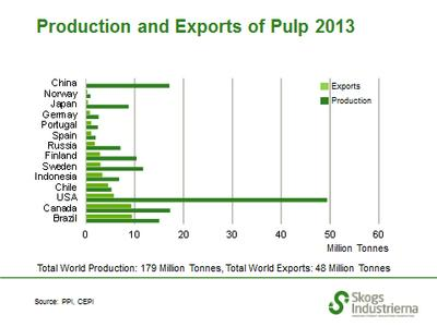 Pulp production and exports in 2013