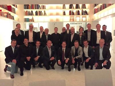 Globe President & CEO ErnestCu joins leaders around the world during a dinner hosted by Facebook founder and CEO Mark Zuckerberg. Kneeling from left to right: Mario Zanotti, Senior EVP, Latin America, Millicom; Augie Fabela II, Vimpelcom; Javier Olivan, VP of Growth and Analytics, Facebook; Ernest Cu, CEO, Globe Telecom; Daniel Hajj Aboumrad, CEO, Telcel; Jon Fredrik Baksaas, CEO, Telenor; Dan Rose, VP for Partnerships, Facebook; Chris Daniels, VP of Business Development, Facebook.