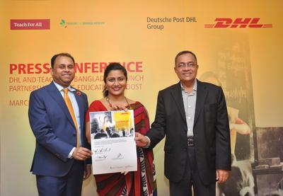 DPDHL Group launches partnership with Teach for Bangladesh to help boost educational opportunities and employability in Bangladesh. (L-R) Nooruddin Chowdhury, Managing Director, DHL Global Forwarding Bangladesh; Maimuna Ahmad, CEO, Teach for Bangladesh; and Desmond Quiah, Managing Director, DHL Express Bangladesh.