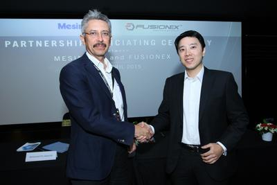 From Left: Mohamed Fitri, Managing Director of Mesiniaga, shaking hands with Fusionex Managing Director Ivan Teh, at the Partnership Officiating Ceremony at the Fusionex office in Kuala Lumpur