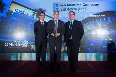 Brian E. Werner (center), General Manager of ONE Degree 15 Marina Club accepting the Green Maritime Company of the Year Award at the 11th Asia Boating Awards in Hong Kong. [Photo: Asia-Pacific Boating]