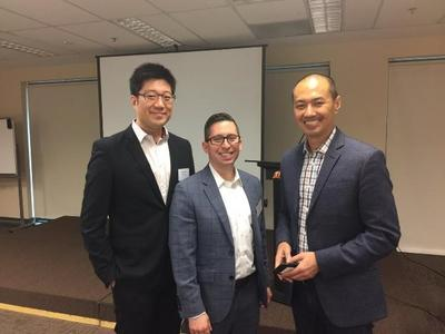 Left to Right:  Royce Shih, VP of Sales & Marketing of PR Newswire in Asia-Pacific, Michael Pranikoff and guest speaker of Singapore event, Alan Soon