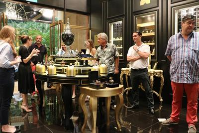 Visitors at Fragrance Du Bois' Singapore flagship boutique at the iconic Fullerton Hotel.