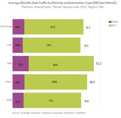 Average Monthly Data Traffic by Ethnicity and Connection Type (MB/User/Month)