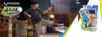 Leo Messi in action using FootBubbles from Funtastic.
