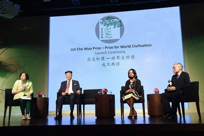 (From left) Ms. Anna Wu Hung-yuk, moderator, Dr. LUI Che Woo, Dr. Condoleezza Rice and Prof. Lawrence J. Lau at the panel discussion.
