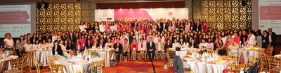 Part of the massive gathering of women leaders at House of Rose Professional's Break the ceiling touch the sky (c) 2015 summit. All in pink - the theme color for the summit.