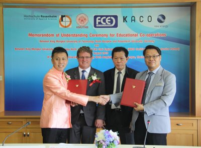 Assistant Professor Doctor Anirach Mingkhan - Dean of the Faculty of Industrial Technology and Management, King Mongkut's University of Technology North Bangkok (KMUTNB), signed the MOU on academic cooperation with the sole distributor of KACO new energy - the world class solar inverter, by Mr. Phiphat Phakhananyoothin, Managing Director of Fah Chai Engineering Limited, with the presence of Professor Doctor Teravuti Boonyasopon - The President of KMUTNB.