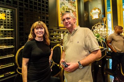 Nicola Parker, Brand Director of Fragrance Du Bois, and Michael Kleiner, Economic Development Officer at State of Geneva, in attendance at the reception in Fragrance Du Bois' flagship boutique at The Fullerton Hotel.