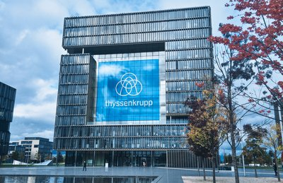 Visualization of new logo against thyssenkrupp Headquarters (Essen, Germany)