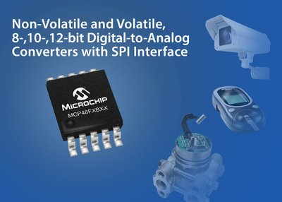 Microchip Non-Volatile and Volatile, 8-, 10-, 12-bit Digital-to-Analog Converters with SPI Interface