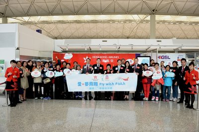 "Hong Kong Airlines co-organized ""Fly with Faith-Taipei Tour for Seniors"" with Pok Oi Hospital on 26 November. A launching ceremony was held at Hong Kong International Airport to kick start the event"