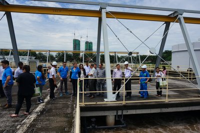 IWK engineers explain to the group how wastewater is process before clean, usable water is released back into the river