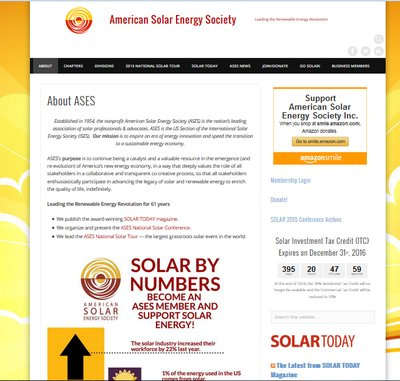 Homepage of the American Solar Energy Society