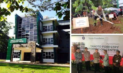 Tanoto Foundation founder Sukanto Tanoto inaugurates the Tanoto Forestry Information Center, which aims to be a knowledge hub for forestry management and science.