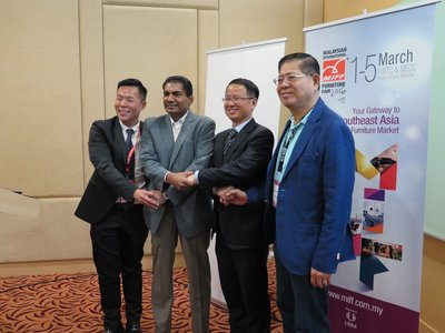From (L) Ben Veechai, International Marketing Director of UBM Asia; M Gandhi, Managing Director- ASEAN Business, UBM Asia; Yi Qian, Director of Business Development for Alibaba B2B Business Unit; Dato' Dr Tan Chin Huat, MIFF Chairman in the media briefing on 29 February 2016