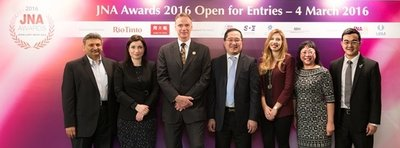 (From left) Nishit Parikh, Director of Diarough Group; Rita Maltez, Director of Rio Tinto Diamonds for Greater China; Wolfram Diener, Senior Vice President of UBM Asia; Peter Suen, Executive Director of Chow Tai Fook Jewellery Group Ltd; Noa Pardo, Managing Director of Israel Diamond Institute Group of Companies Asia Pacific; Letitia Chow, Founder of JNA and Director of Business Development – Jewellery Group at UBM Asia; and Liu Zheng, Deputy General Manager of Guangdong Land Holdings Ltd.