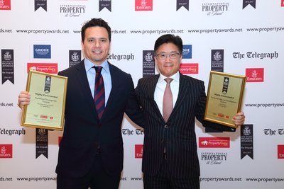 At the Asia Pacific Property Awards 2016-2017, Mr. Wanchak Buranasiri (right), Chief Operating Officer and Mr. Cobby Leathers (left), Head of International Business of Sansiri Public Company Limited, Thailand's leading fully-integrated property developer, is seen accepting five awards in a row on behalf of the company: Five-Star Award plus four Highly Commended awards in a ceremony held recently at Shangri-La Hotel, Kuala Lumpur.
