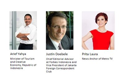 Speakers for the Media Coffee event in Jakarta on May 12.
