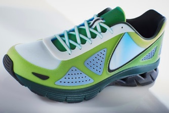 This true product-matching sports shoe prototype was produced with full color, smooth surfaces, and a rubber-like sole - all in a single print operation on the Stratasys J750 3D Printer.