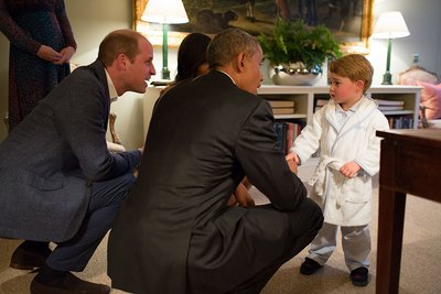 Prince George was spotted wearing a personalized dressing gown from My 1st Years while meeting President Obama. (The White House/Getty Images Entertainment/Getty Images)