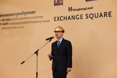 Mr Y K Pang, Chief Executive of Hongkong Land, greeted government representatives, guests and business partners at the topping out ceremony of EXCHANGE SQUARE, the Company's debut mixed-use project in Phnom Penh, Cambodia.
