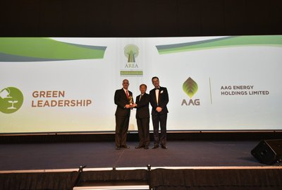 Mr. Jeffrey Lobao, Vice President, Southeast Asia of AAG Energy accepts the Green Leadership Prize at the Asia Responsible Entrepreneurship Awards ceremony.