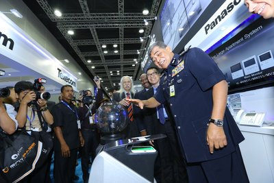 The Inspector General of Royal Malaysia Police, Tan Sri Dato' Sri Khalid Abu Bakar launched Panasonic's latest products at IFSEC Southeast Asia 2015