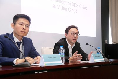 Maurice Ma (right), VP of Huawei Carrier Software BU and Jian Guan (left), General Manager of BES as a Service Product, Huawei Carrier Software BU, answer the journalists' questions.
