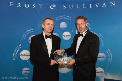 Russell Tew, Borealis Healthcare New Business Development Manager accepts Frost & Sullivan Award at Ceremony, November 2016.