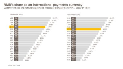 RMB's share as an international payments currency - Customer initiated and insitutional payments. Messages exchanged on SWIFT. Based on value.
