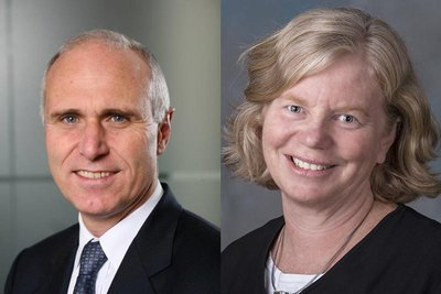 Trevor Russell (left) and Barbara Smith (right), on behalf of Chevron Oronite, to receive awards at F+L Week 2017.
