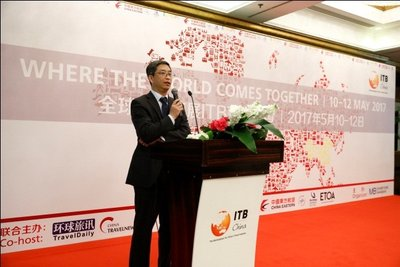 Mr John Li, Vice President /Jin Jiang International Hotel Management Co., Ltd gives a speech on the press review