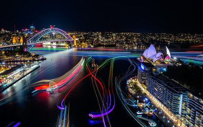 Sydney Harbour at Vivid Sydney 2016 credit Destination NSW