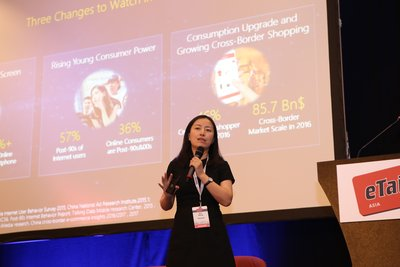 Ann Wang delivers speech at eTail Asia